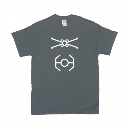 minimalist-xwing-tie-fighter-star-wars-wall-Tshirt