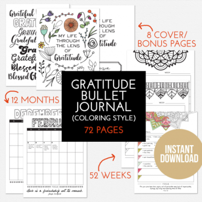 gratitude journal printable digital download